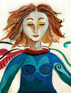 Spiritual Warrior Original Watercolor Painting Cropped View