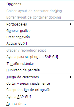 Menu SAP GUI