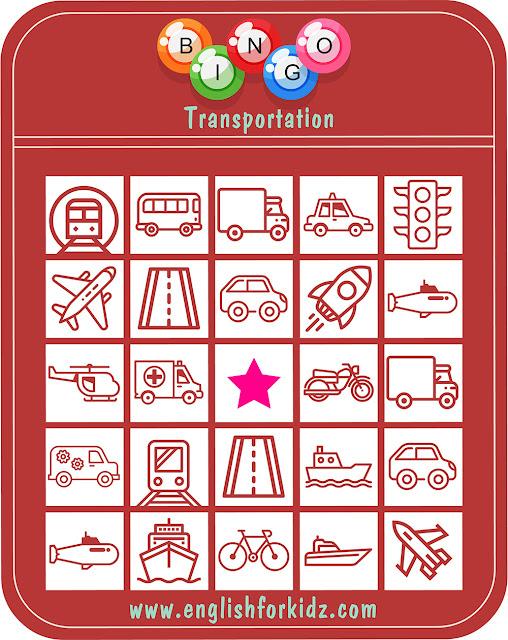 Transport bingo game for English classes