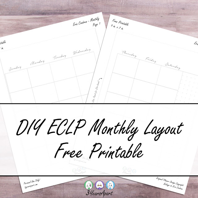 3 Years Apart DIY Erin Condren Life Planner Inspired Monthly Layout Free Printable