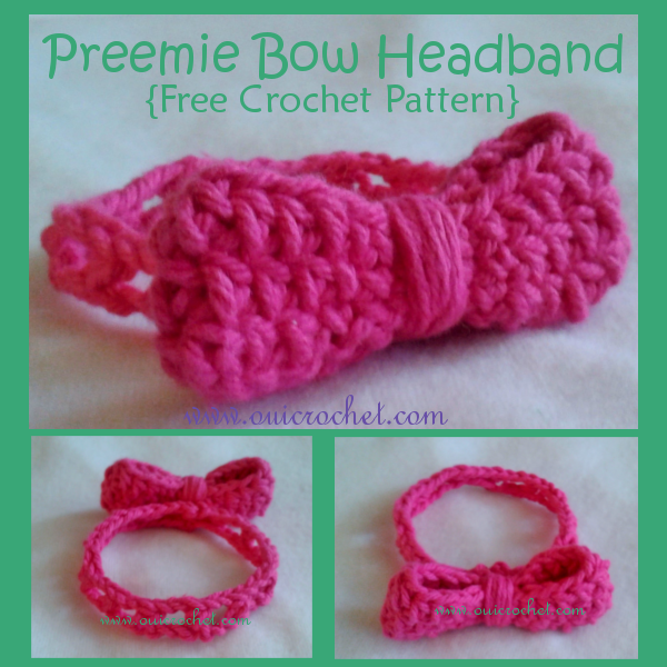 Crochet for NICU Babies, Crochet for Preemies, Crochet Headband, Crochet Preemie Bow Headband, Free Crochet Pattern, Preemies,