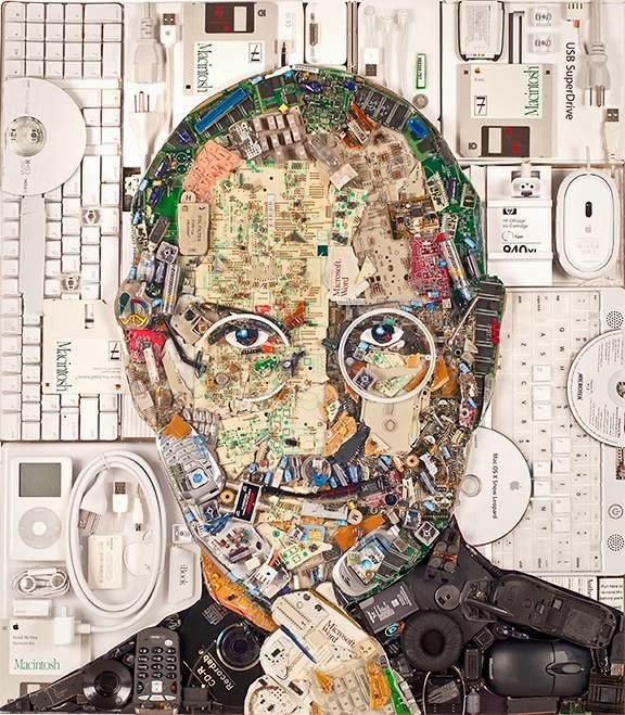 Recyled portrait of Steve Job