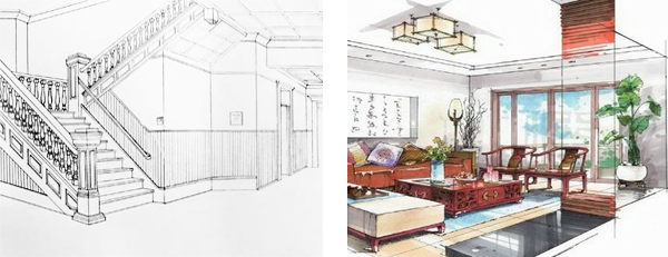 two point perspective drawing samples - Interior Design Sketches