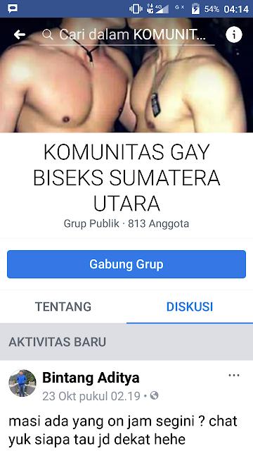 Grup facebook komunitas gay di Sumatera Utara.