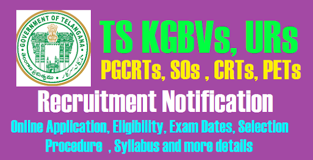 Telangana KGBVs, URs PGCRTs, SOs, CRTs, PETsRecruitment Notification, Online Application, Eligibility, Exam Dates, Selection Procedure , Syllabus and more details  @ssa.telangana.gov.in