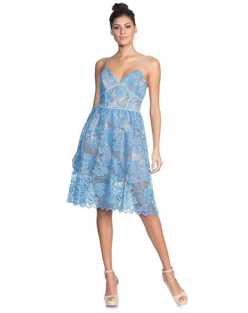 Moda vestido rodado guipir azul claro