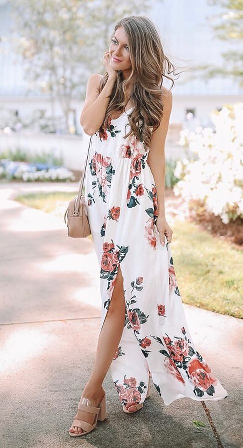 beautiful outfit idea / maxi floral dress + crossbody bag + heels