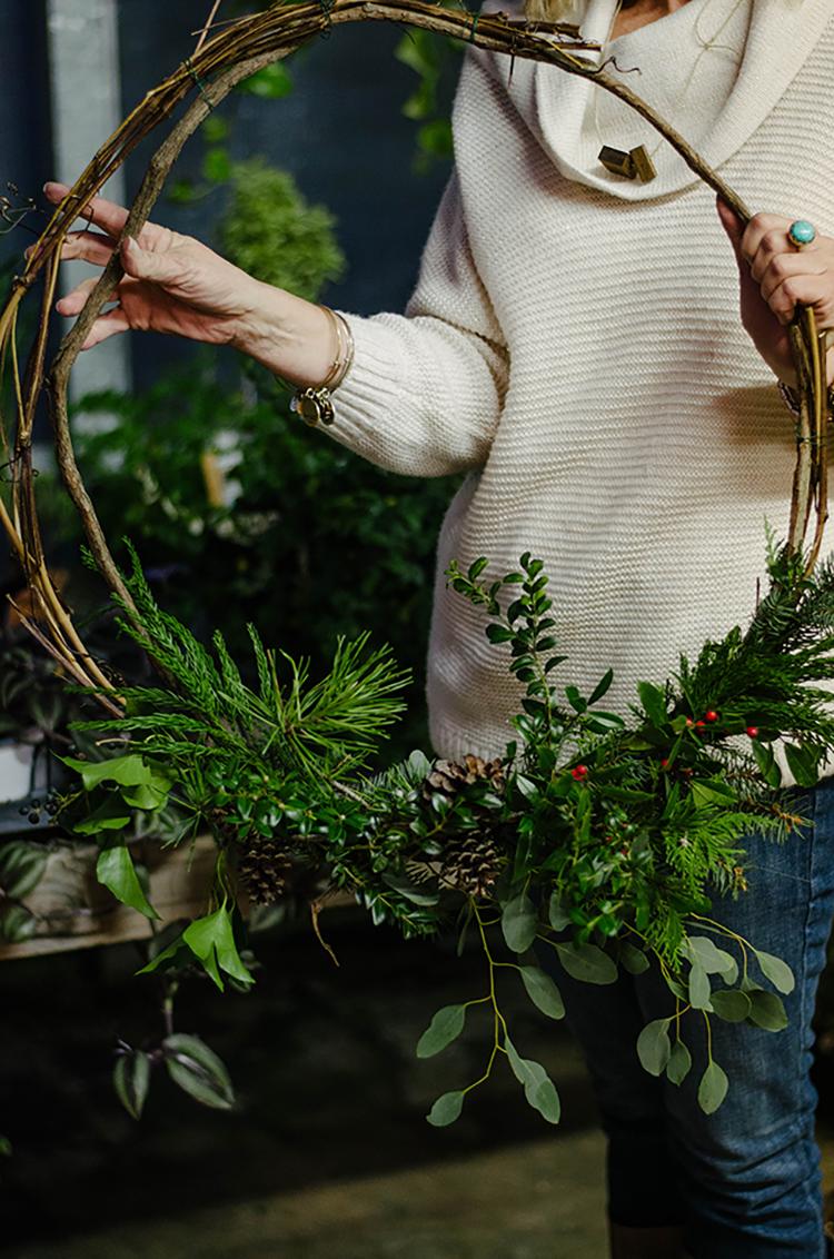 Asymmetrical wreath via A Daily Something