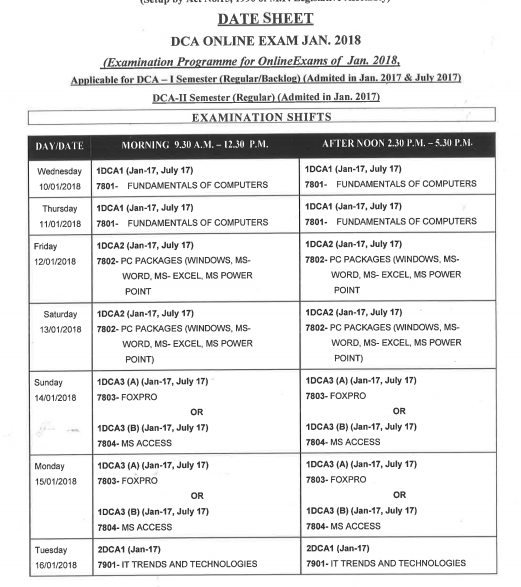 Makhanlal University Time Table