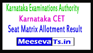 Karnataka CET Seat Matrix Allotment Result
