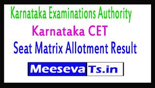 Karnataka CET Seat Matrix Allotment Result
