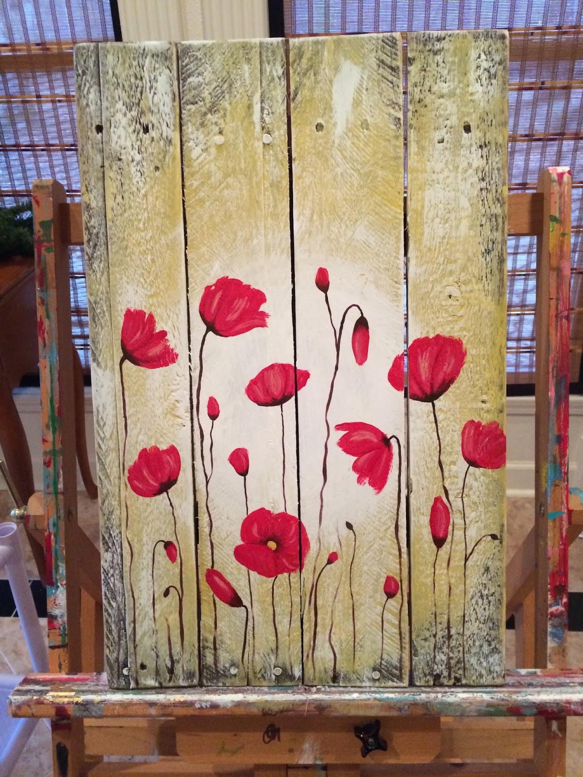 Amy Parker Art: Poppy Flowers Pallet Wood Painting