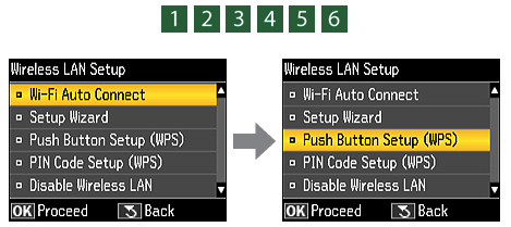 Hpw to Enter WPS Push Button Setup Wizard for Epson L555 printer