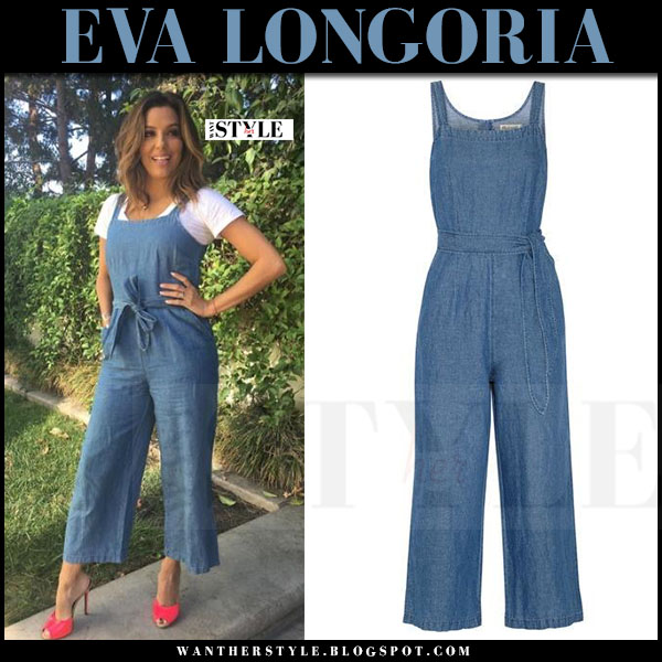 Eva Longoria in blue belted jumpsuit madewell muralist what she wore
