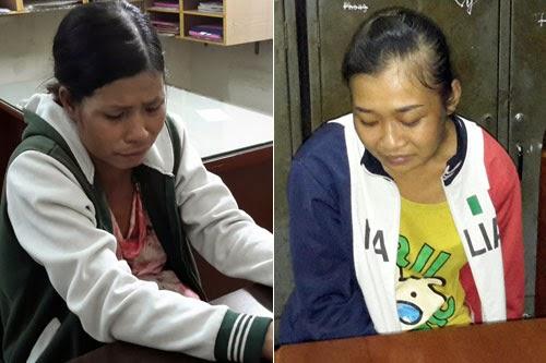 Mang thai hơn 6 tháng nhưng thiếu tiền tiêu xài Hiền (trái) rủ Thúy (phải) cùng nhau đi cướp tài sản của người đi đường
