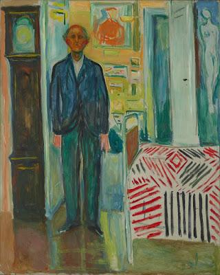 Edward munch -Autoportrait entre l'horloge et le lit 1940-1942
