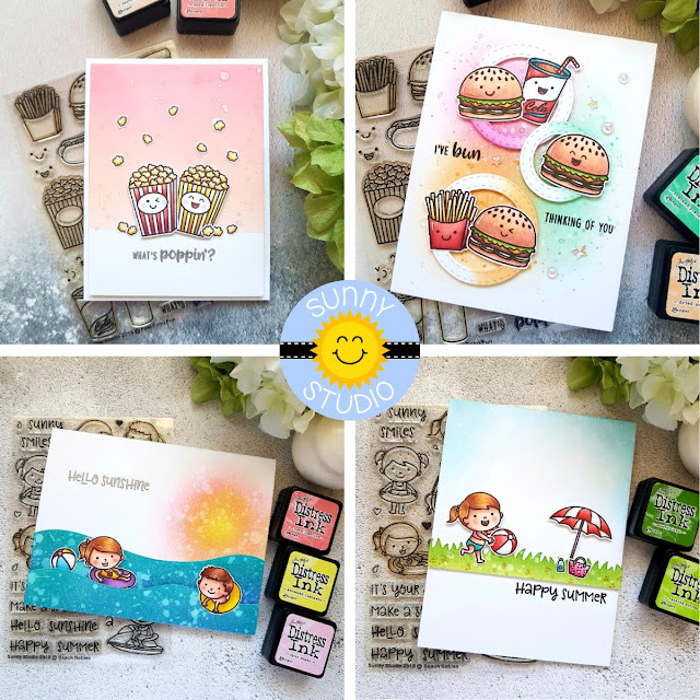Sunny Studio Stamps: Fast Food Fun and Beach Babies Cards by Rowena Miniaci
