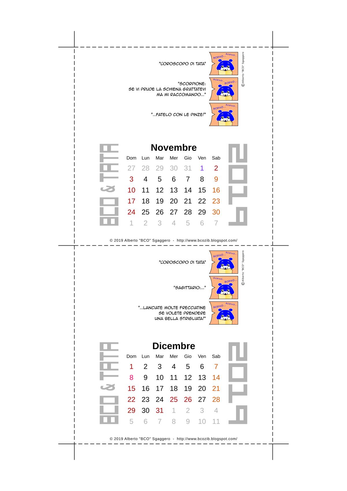 Il calendario 2019 di BCO e TATA - Novembre Dicembre