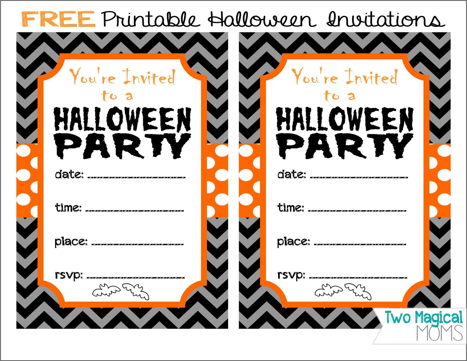 Two Magical Moms Free Printable Halloween Invitations