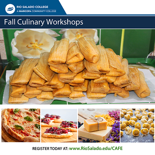 Poster for Fall Culinary Workshops featuring images of tamales, pizza, appetizers, soap and tortellini
