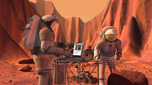 Hình đồ họa mô phỏng các nhà du hành làm việc trên Sao Hỏa. Hình ảnh: NASA/JSC.