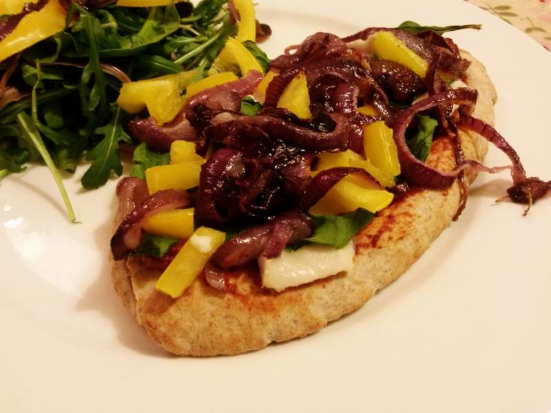 Pitta Bread Pizza with Caramelised Onion and Goat's Cheese