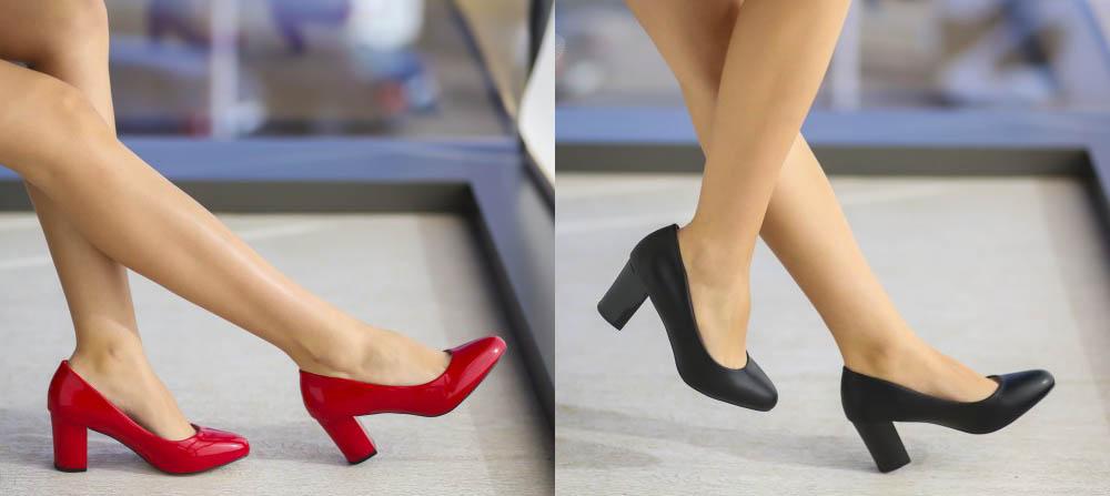 Pantofi cu toc mic de birou / de zi negri, rosii ieftini 2017