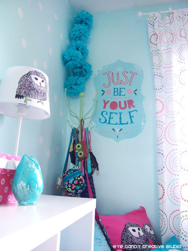 IKEA owl lamp, coat rack, owl pillow, tissue poms, tween bedroom ideas
