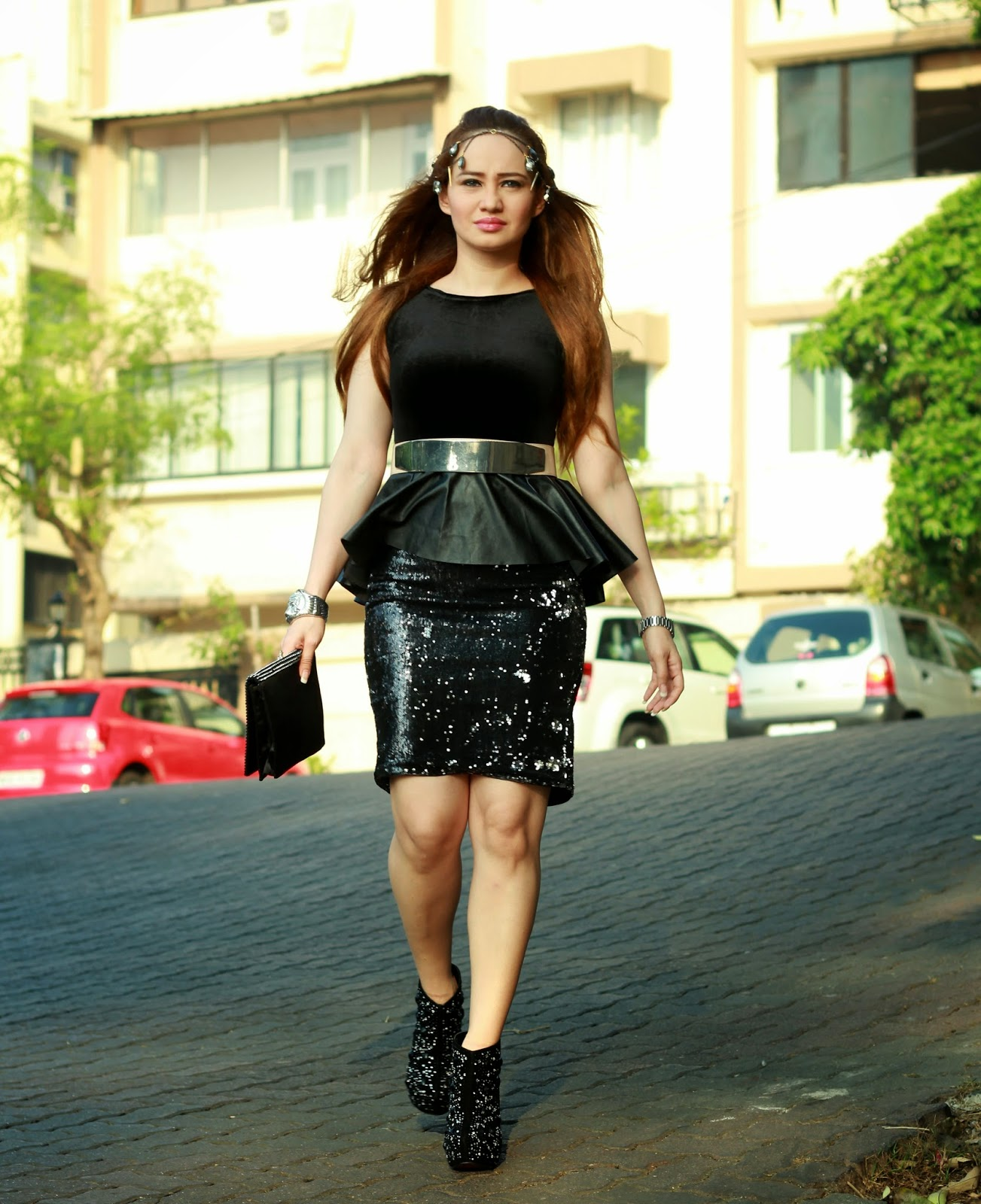 Black Velvet Peplum Top & Black Sequin Pencil Skirt