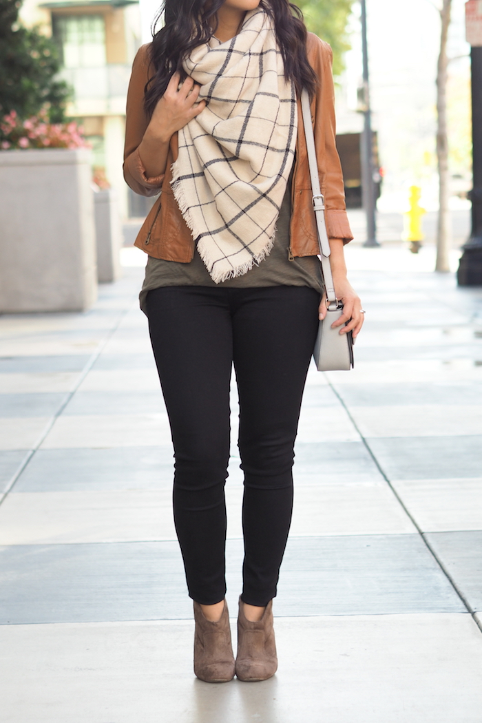 Olive Tee + Black Jeans + Cognac Leather Jacket + Plaid Scarf