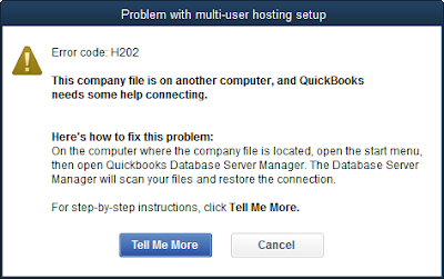Quickbooks error code, h202, can't open quickbooks database