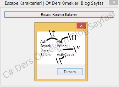 C# Escape Karakterleri (\n - \t - \\)