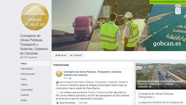 La Consejería de Obras Públicas, Transportes y Vivienda del Gobierno de Canarias refuerza su presencia en redes sociales