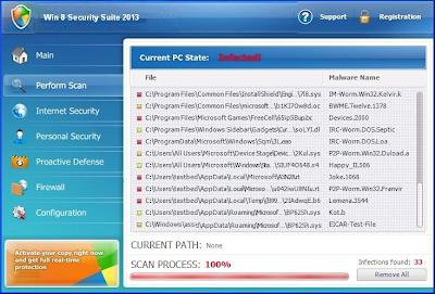 """Beware of Fake-Antivirus """"Win 8 Security System"""""""