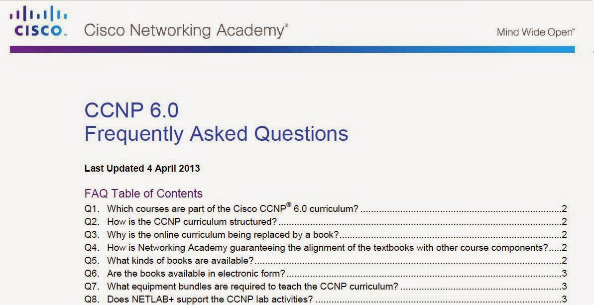 CCNP Version 6 : FAQ