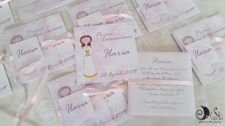Dilu Artemente Inviti Card Dollina Prima Comunione Originali Ed Eleganti Per Ilaria E Kat