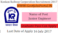 Konkan Railway Corporation Limited Recruitment 2017–Junior Engineer