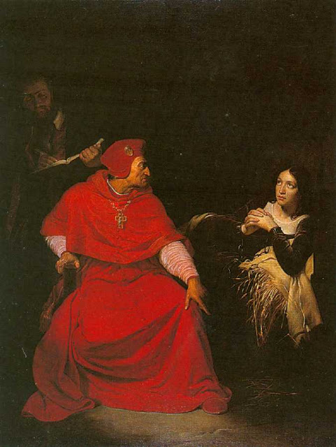 """Cardeal interroga Santa Joana d'Arco na prisão. A sentença fora """"arranjada"""" previamente com os invasores."""