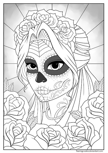 Sugar Skull Girl Colouring Page By Tearingcookie On Deviantart  Day Of  The Dead Dia De Los Muertos Sugar Skull Coloring Pages Colouring Adult  Detailed