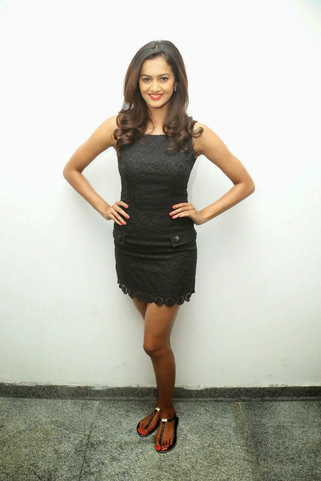 Shubra Aiyappa Latest Photo Gallery, Shubra Aiyappa Sexy Hot Figure images in Black Dress