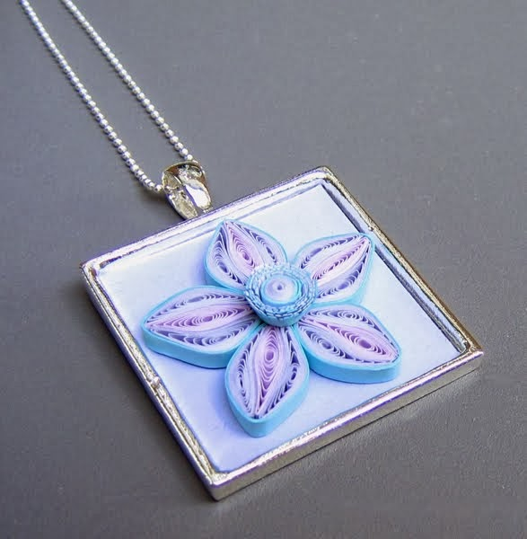 Quilled Flower Pendant - paper jewelry by Ann Martin