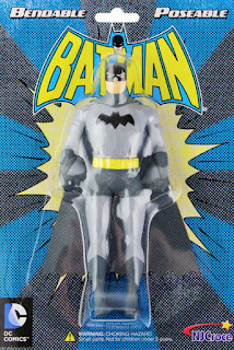 Batman figure, modeled on 1950s incarnation of the character, in plastic bubble packaging on cardstock