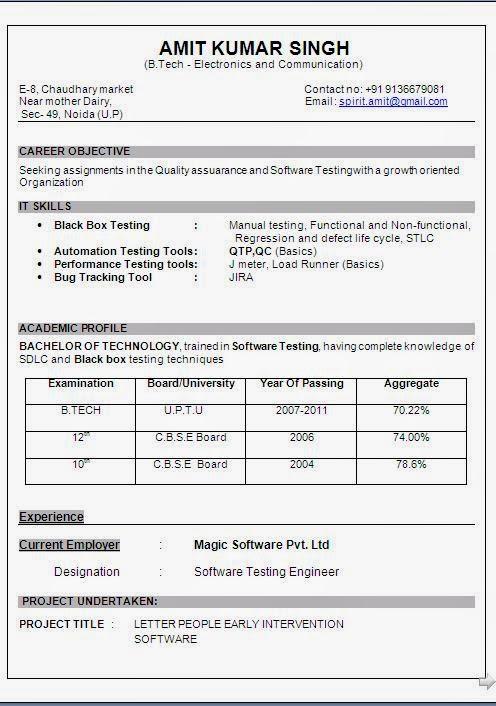 b tech electronics communication resume
