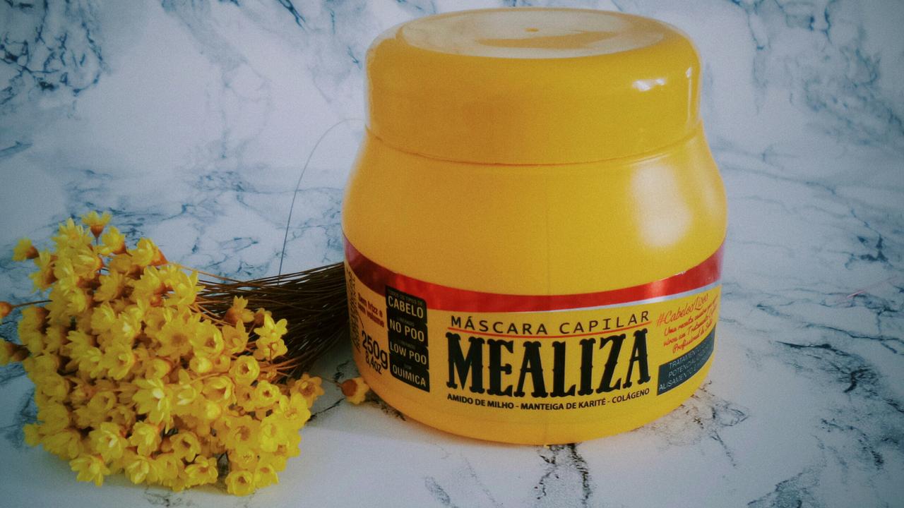 26ae6bc38 A Máscara Capilar Mealiza que contém em sua fórmula: Amido de Milho,  Manteiga de Karité e Colágeno. É um tratamento capilar potencializador de  alisamento e ...