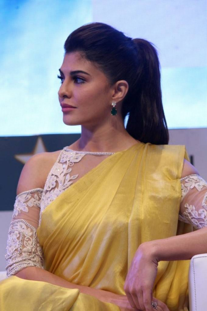 Jacqueline Fernandez Stills In Yellow Saree At FICCI FRAMES 2017