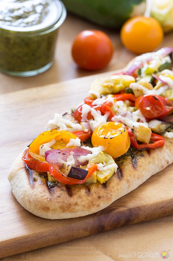 Grilled veggie flabread | Cooking on the Front Burner