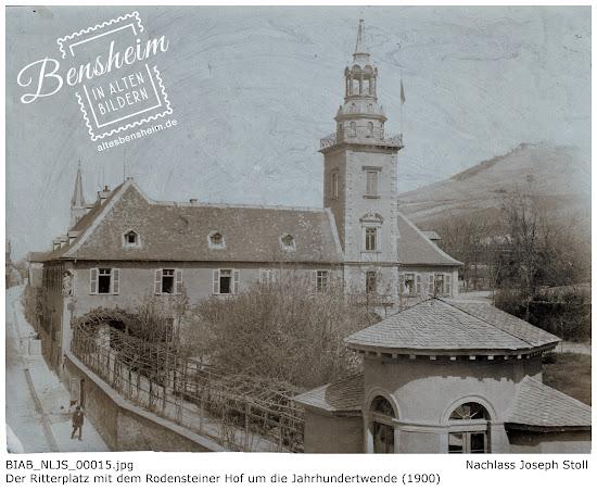 Der Ritterplatz mit dem Rodensteiner Hof um die Jahrhundertwende (1900); Nachlass Joseph Stoll, Bensheim