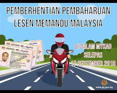 Pembaharuan Lesen Memandu Malaysia Di Dalam MyKad Dihentikan