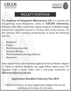 Jobs vacancies Announces In CECOS University At 18 January 2019