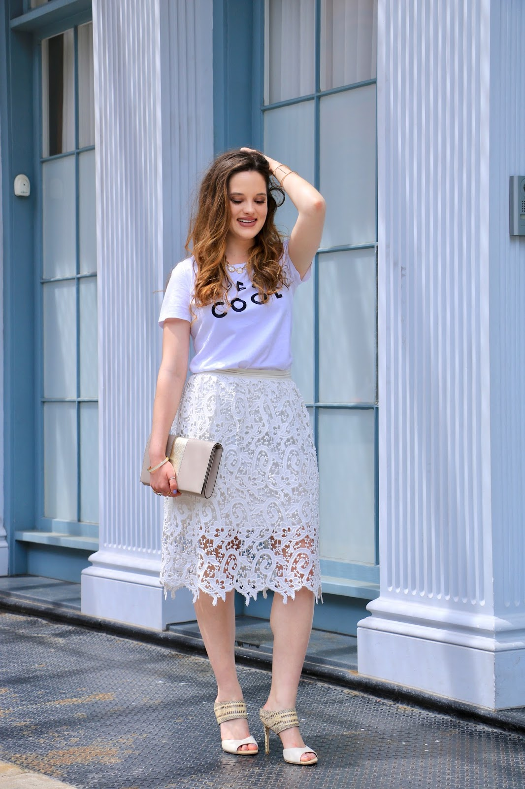 nyc fashion blogger Kathleen Harper wearing a graphic tee with a pencil skirt